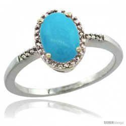 Sterling Silver Diamond Sleeping Beauty Turquoise Ring 1.17 ct Oval Stone 8x6 mm, 3/8 in wide