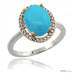 Sterling Silver Diamond Sleeping Beauty Turquoise Ring 2.4 ct Oval Stone 10x8 mm, 1/2 in wide -Style Cwg18114