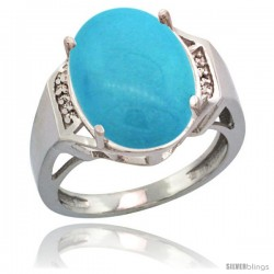 Sterling Silver Diamond Sleeping Beauty Turquoise Ring 9.7 ct Large Oval Stone 16x12 mm, 5/8 in wide