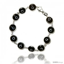 Sterling Silver Black Color Evil Eye Bracelet, 7 in long