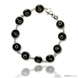 Sterling Silver Black Color Evil Eye Bracelet, 7 in long