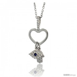 Sterling Silver 16 in. Cable Link Chain Necklace Jeweled Heart Cut-out, Evil Eye & Hamsa Pendant