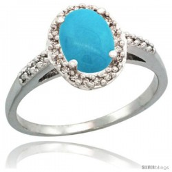 Sterling Silver Diamond Sleeping Beauty Turquoise Ring Oval Stone 8x6 mm 1.17 ct 3/8 in wide