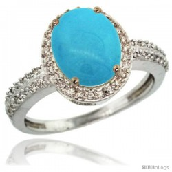 Sterling Silver Diamond Sleeping Beauty Turquoise Ring Oval Stone 10x8 mm 2.4 ct 1/2 in wide