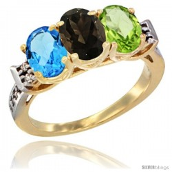10K Yellow Gold Natural Swiss Blue Topaz, Smoky Topaz & Peridot Ring 3-Stone Oval 7x5 mm Diamond Accent