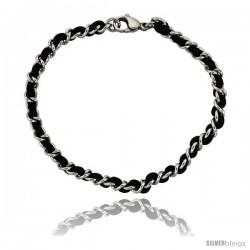 Stainless Steel Black Satin Cord Link Bracelet, 3/16 in wide, 7 1/4 in. long
