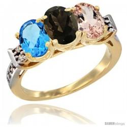 10K Yellow Gold Natural Swiss Blue Topaz, Smoky Topaz & Morganite Ring 3-Stone Oval 7x5 mm Diamond Accent