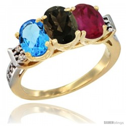 10K Yellow Gold Natural Swiss Blue Topaz, Smoky Topaz & Ruby Ring 3-Stone Oval 7x5 mm Diamond Accent