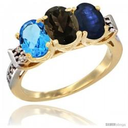 10K Yellow Gold Natural Swiss Blue Topaz, Smoky Topaz & Blue Sapphire Ring 3-Stone Oval 7x5 mm Diamond Accent