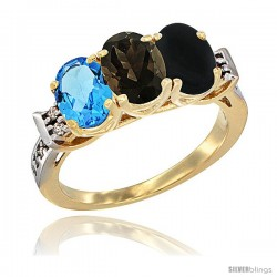 10K Yellow Gold Natural Swiss Blue Topaz, Smoky Topaz & Black Onyx Ring 3-Stone Oval 7x5 mm Diamond Accent