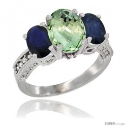 10K White Gold Ladies Natural Green Amethyst Oval 3 Stone Ring with Blue Sapphire Sides Diamond Accent
