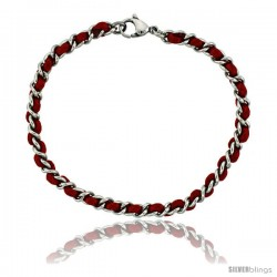 Stainless Steel Red Satin Cord Link Bracelet intertwined, 3/16 in wide, 7 1/4 in. long