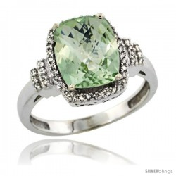 14k White Gold Diamond Halo Green Amethyst Ring 2.4 ct Cushion Cut 9x7 mm, 1/2 in wide