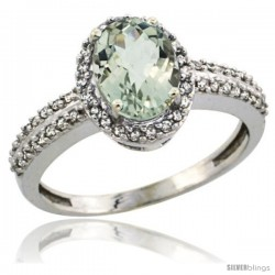14k White Gold Diamond Halo Green Amethyst Ring 1.2 ct Oval Stone 8x6 mm, 3/8 in wide