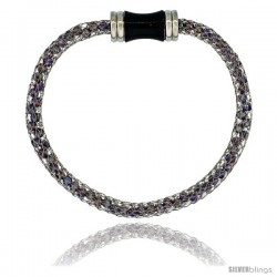 Stainless Steel Amethyst Crystal Cage Bracelet Magnetic-clasp 7.5 in long