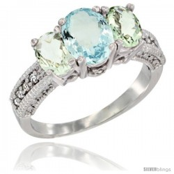 14k White Gold Ladies Oval Natural Aquamarine 3-Stone Ring with Green Amethyst Sides Diamond Accent