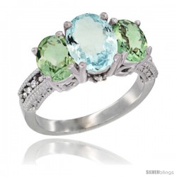 14K White Gold Ladies 3-Stone Oval Natural Aquamarine Ring with Green Amethyst Sides Diamond Accent