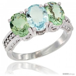14K White Gold Natural Aquamarine & Green Amethyst Sides Ring 3-Stone 7x5 mm Oval Diamond Accent