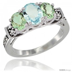 14K White Gold Natural Aquamarine & Green Amethyst Ring 3-Stone Oval with Diamond Accent