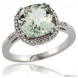 14k White Gold Diamond Green-Amethyst Ring 3.05 ct Cushion Cut 9x9 mm, 1/2 in wide