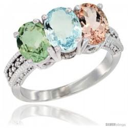 14K White Gold Natural Green Amethyst, Aquamarine & Morganite Ring 3-Stone 7x5 mm Oval Diamond Accent