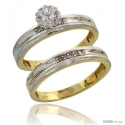 10k Yellow Gold Diamond Engagement Rings Set 2-Piece 0.09 cttw Brilliant Cut, 1/8 in wide -Style 10y019e2