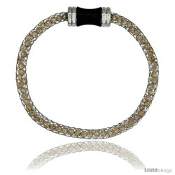 Stainless Steel Peach Crystal Cage Bracelet Magnetic-clasp 7.5 in long