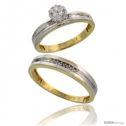 10k Yellow Gold Diamond Engagement Rings 2-Piece Set for Men and Women 0.10 cttw Brilliant Cut, 4 mm & 3.5 -Style 10y019em