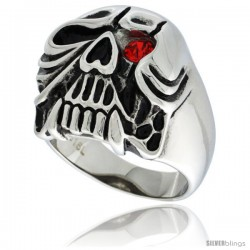 Surgical Steel Skull Ring with Fangs and Red CZ Eye