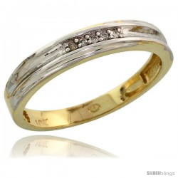 10k Yellow Gold Ladies Diamond Wedding Band Ring 0.03 cttw Brilliant Cut, 1/8 in wide -Style 10y019lb