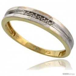 10k Yellow Gold Mens Diamond Wedding Band Ring 0.04 cttw Brilliant Cut, 5/32 in wide