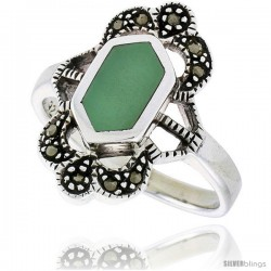 Sterling Silver Ring, w/ Hexagon-shaped Green Resin, 3/4 in (19 mm) wide