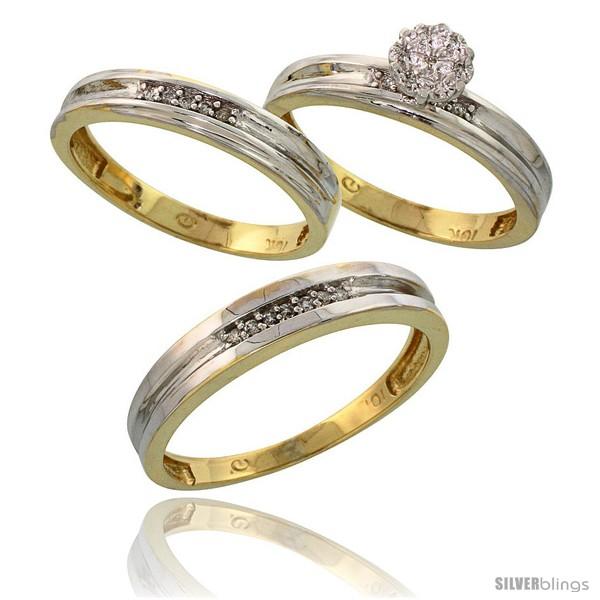 Silver Diamond Engagement Rings Trio Sets