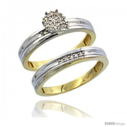 10k Yellow Gold Diamond Engagement Rings Set 2-Piece 0.09 cttw Brilliant Cut, 1/8 in wide -Style 10y020e2