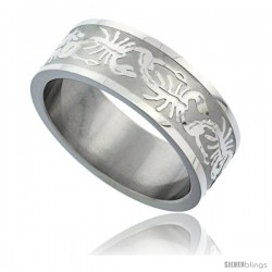 Surgical Steel Scorpion Ring 8mm Wedding Band Pattern Matte finish