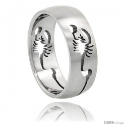 Surgical Steel Scorpion Ring Domed 8mm Wedding Band Cut-outs design