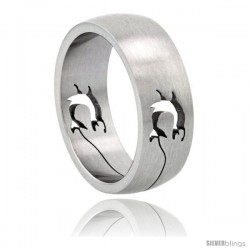 Surgical Steel Dolphins Ring Domed 8mm Wedding Band cut-out pattern
