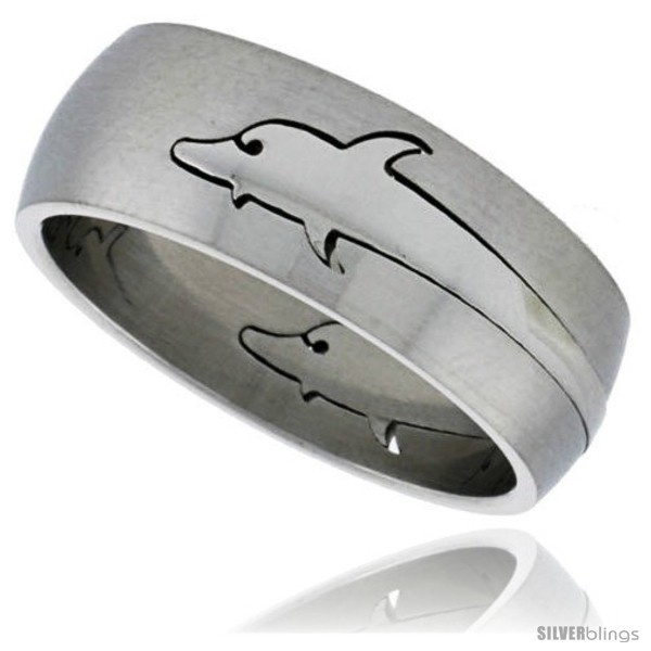 surgical steel dolphin ring domed 8mm wedding band