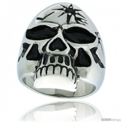 Surgical Steel Biker Skull Ring w/ Black CZ Bullet Hole on Forehead