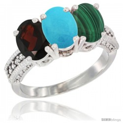 14K White Gold Natural Garnet, Turquoise & Malachite Ring 3-Stone 7x5 mm Oval Diamond Accent