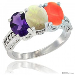 14K White Gold Natural Amethyst, Opal & Coral Ring 3-Stone 7x5 mm Oval Diamond Accent