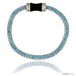 Stainless Steel Blue Topaz Crystal Cage Bracelet Magnetic-clasp 7.5 in long