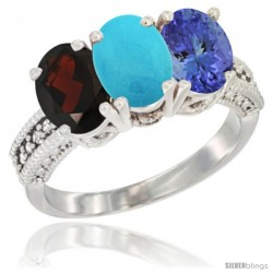 14K White Gold Natural Garnet, Turquoise & Tanzanite Ring 3-Stone 7x5 mm Oval Diamond Accent