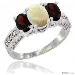 14k White Gold Ladies Oval Natural Opal 3-Stone Ring with Garnet Sides Diamond Accent
