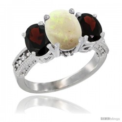 14K White Gold Ladies 3-Stone Oval Natural Opal Ring with Garnet Sides Diamond Accent