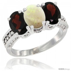 14K White Gold Natural Opal & Garnet Sides Ring 3-Stone 7x5 mm Oval Diamond Accent