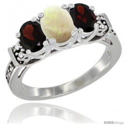 14K White Gold Natural Opal & Garnet Ring 3-Stone Oval with Diamond Accent
