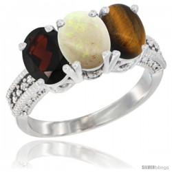 14K White Gold Natural Garnet, Opal & Tiger Eye Ring 3-Stone 7x5 mm Oval Diamond Accent