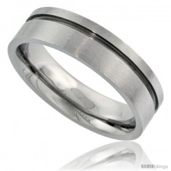 Surgical Steel 6mm Wedding Band Ring single Groove Comfort-Fit Matte Finish