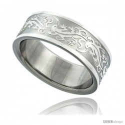 Surgical Steel Tribal Gecko Ring 8mm Wedding Band